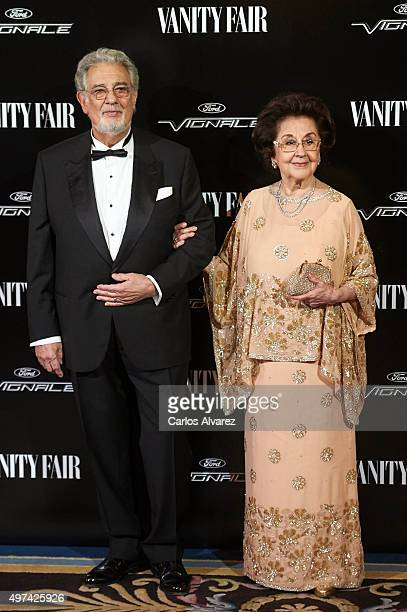 Spanish tenor Placido Domingo and wife Marta Ornelas attend the Vanity Fair Personality Of The Year Gala at the Hotel Ritz on November 16 2015 in...