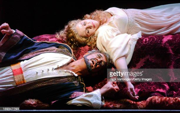 Spanish tenor Placido Domingo as the titular character in Giuseppe Verdi's 'Otello' and Renee Fleming as 'Desdemona' perform during the final dress...