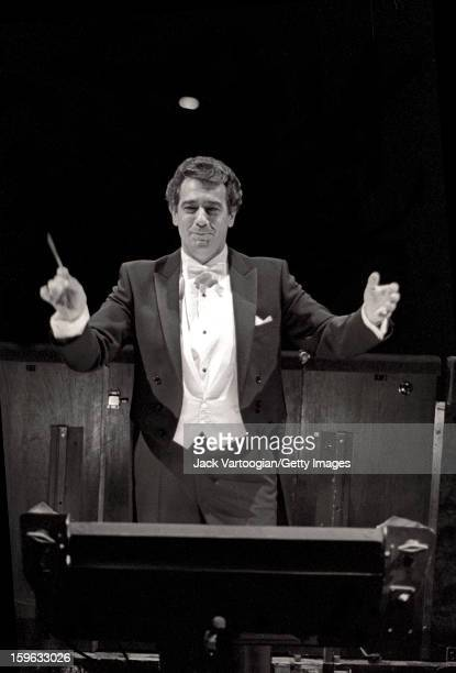 Spanish tenor Placido Domingo conducts a rehearsal of Verdi's 'La Boheme' for his conducting debut at the Metropolitan Opera House at Lincoln Center...
