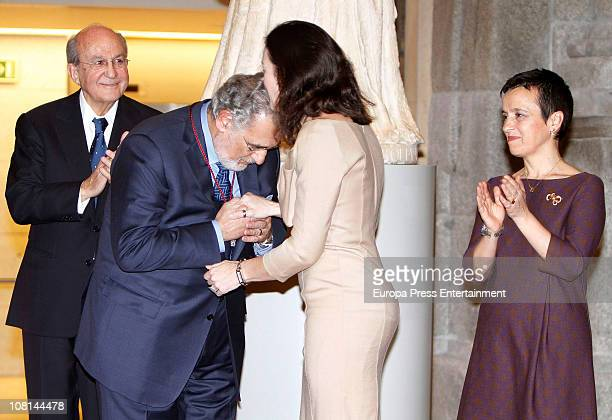 Spanish tenor Placido Domingo is awarded with Order of Arts and Letters by Spanish Culture Minister Angeles GonzalezSinde in the present of Placido...