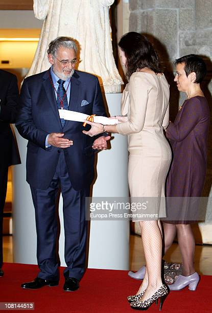 Spanish tenor Placido Domingo is awarded with Order of Arts and Letters by Spanish Culture Minister Angeles GonzalezSinde at Prado Museum on January...