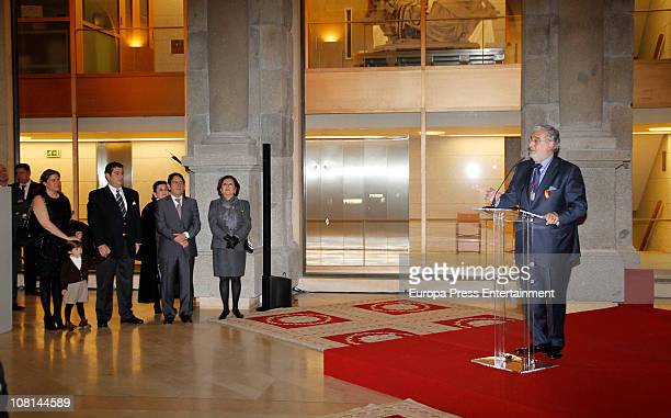 Spanish tenor Placido Domingo is awarded with Order of Arts and Letters by Spanish Culture Minister Angeles GonzalezSinde in the presence of his...