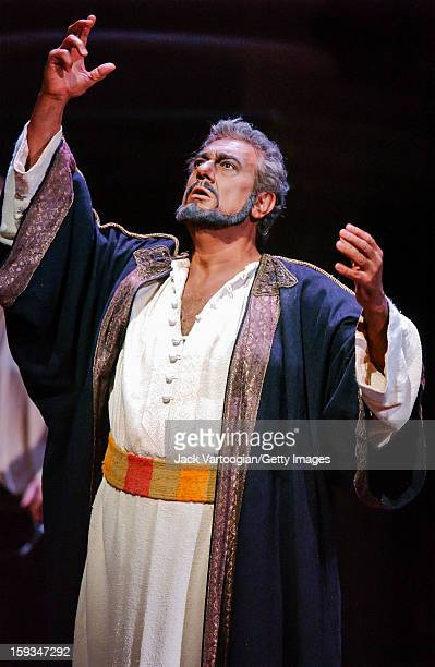 Spanish tenor Placido Domingo performs as the titular character in Giuseppe Verdi's 'Otello' during the final dress rehearsal for the Metropolitan...