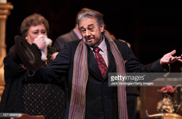 Spanish tenor Placido Domingo performs at the final dress rehearsal prior to the season revival of the Metropolitan Opera/Jack O'Brien production of...