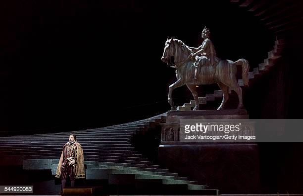 Spanish tenor Placido Domingo performs in a scene at the tomb of Charlemagne during the final dress rehearsal prior to the season premiere of the...