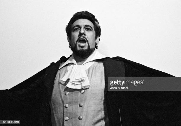 Spanish tenor Placido Domingo photographed backstage at the Metropolitan Opera in New York 1977