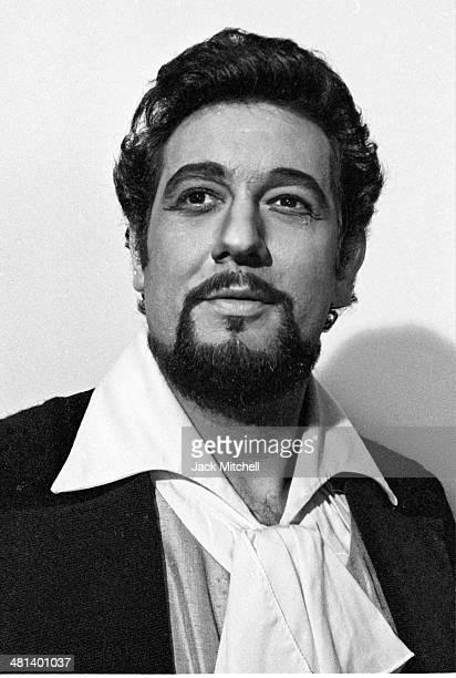 Spanish tenor Placido Domingo photographed backstage at the Metropolitan Opera in New York 1977