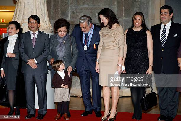 Spanish tenor Placido Domingo poses with family his sisterin law his son Placido Domingo jr his wife Marta Ornelas grandson his daugtherin law and...