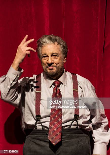 Spanish tenor Placido Domingo takes a bow after his performance at the final dress rehearsal prior to the season revival of the Metropolitan...
