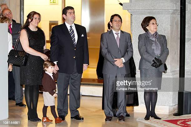 Spanish tenor Placido Domingo's family his daugtherin law his son Alvaro Domingo his son Placido Domingo jr his grandson and his wife Marta Ornelas...