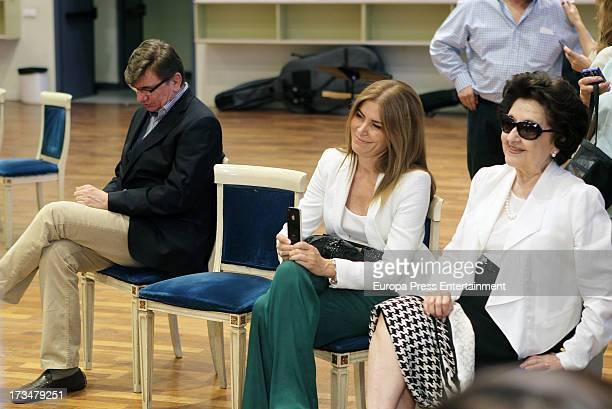Spanish tenor Placido Domingo's wife Marta Ornelas attends a press conference before attending a dress rehearsal of Daniel Catan's 'Il Postino' on...