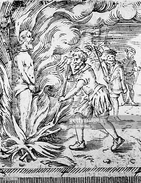 Spanish theologian physician and astronomer Michael Servetus is burned at the stake outside Geneva for heresy and denial of the Trinitarian doctrine...