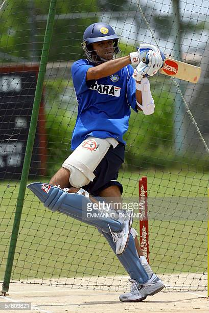 Spanish Town, JAMAICA: Indian team cricket captain Rahul Dravid eyes a shot during the Indian team's first full practice since landing in the...