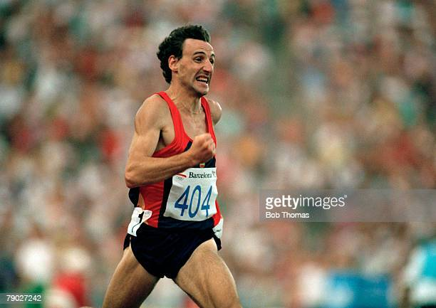 Spanish track athlete Fermin Cacho competes to finish in first place to win the gold medal in the final of the Men's 1500 metres event at the 1992...