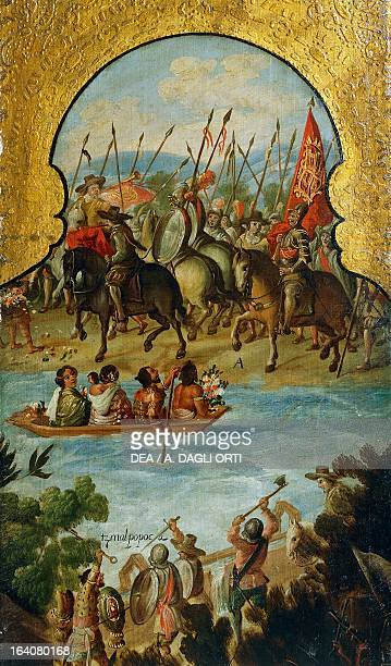Spanish troops arriving in Tenochtitlan in 1520 detail from the Screen with scenes of the Spanish conquest Battle at Tenochtitlan oil painting by an...