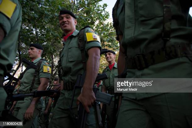 Spanish troops march during the Spanish National Day military parade in Castellana Street on October 12 2019 in Madrid Spain Every October 12 Madrid...