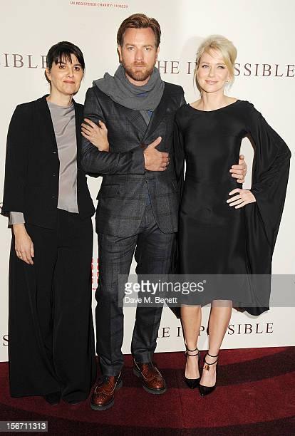 Spanish tsunami survivor Maria Belon, Ewan McGregor and Naomi Watts attend the UK charity premiere of 'The Impossible' at BFI IMAX on November 19,...