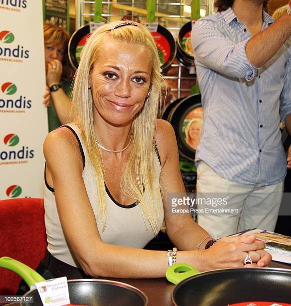 Spanish Tv celebrity Belen Esteban launches a new frying pan collection at Condis Supermarket on June 23 2010 in Fuenlabrada Spain
