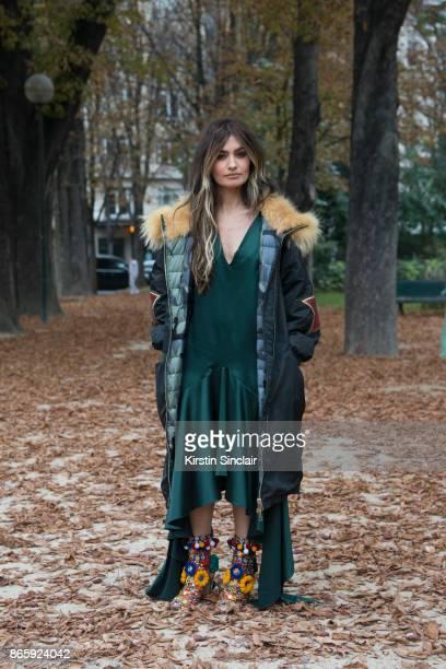 Spanish TV host Angela Rosas Saiz aka Madame de Rosa wears a Project Force parka jacket JCPA Jares dress and Dolce and Gabbana shoes day 2 of Paris...