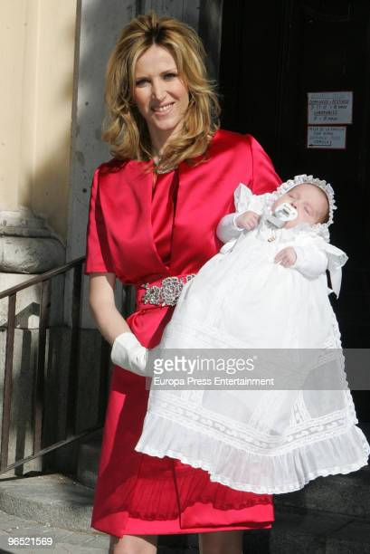 Spanish Tv presenter Alejandra Prat seen during the baptism of her son Alejandro Alcaraz on February 9 2010 in Madrid Spain