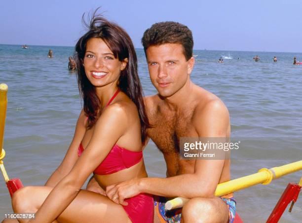 Spanish TV presenter Natalia Estrada and her husband the Italian actor and TV presenter Giorgio Mastrotta Rimini Italy 1993
