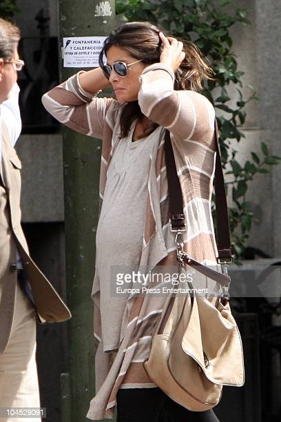 Spanish Tv presenter Nuria Roca and her husband Juan del Val are seen sighting on September 29 2010 in Madrid Spain