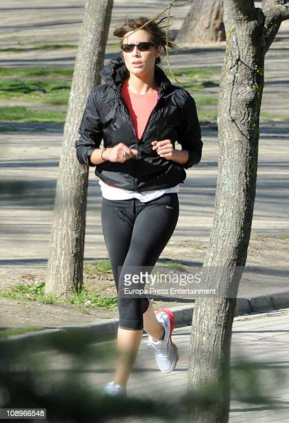 Spanish TV presenter Pilar Rubio is seen jogging on February 10 2011 in Madrid Spain