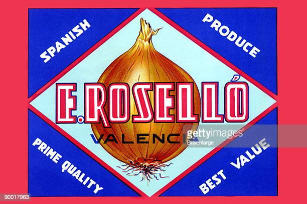 Spanish Valencia onions prime quality Fruit and vegetable crates were stacked for transport all over the United States and to identify one brand from...