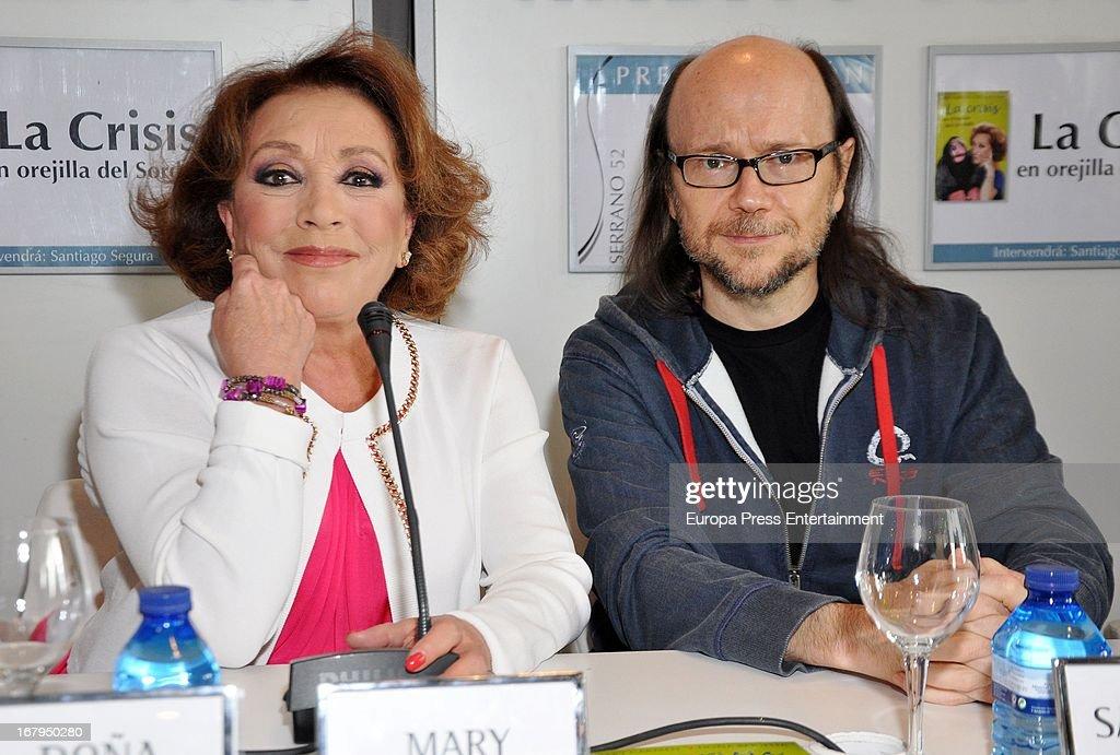 Spanish ventriloquist Mari Carmen and Santiago Segura present the book 'La Crisis En Orejilla Del Sordete' on April 30, 2013 in Madrid, Spain.