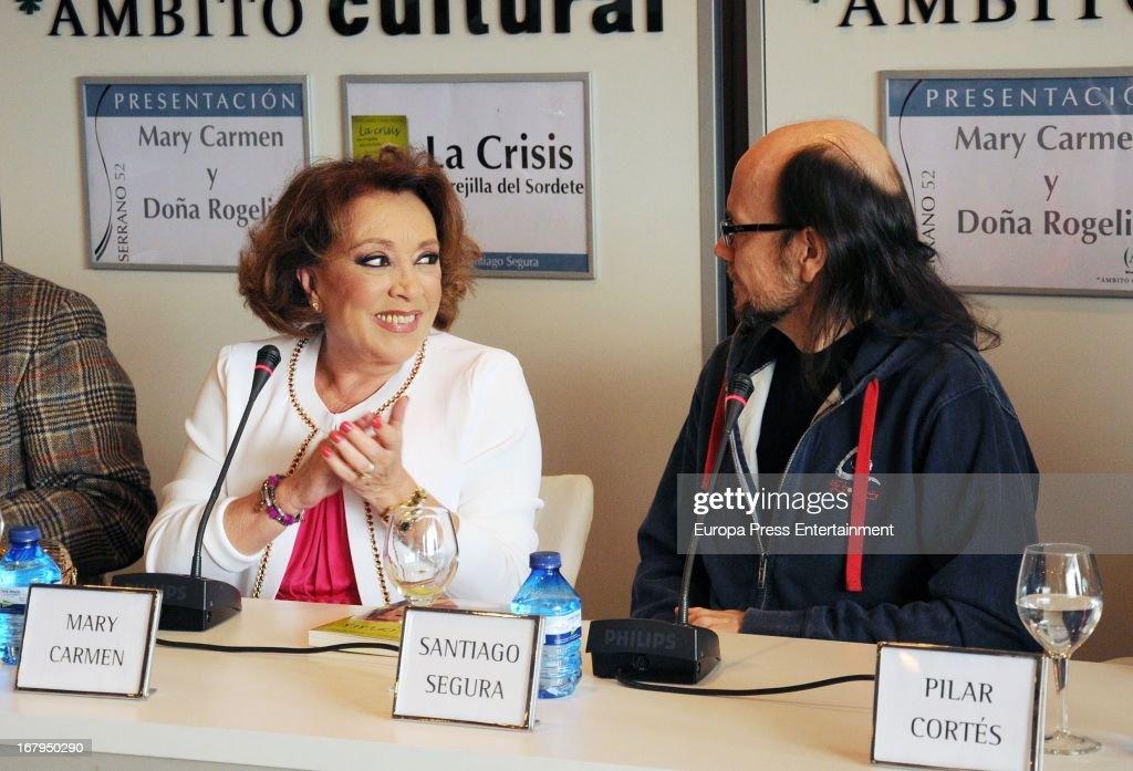 Spanish ventriloquist Mari Carmen and Santiago Segura (R) present the book 'La Crisis En Orejilla Del Sordete' on April 30, 2013 in Madrid, Spain.