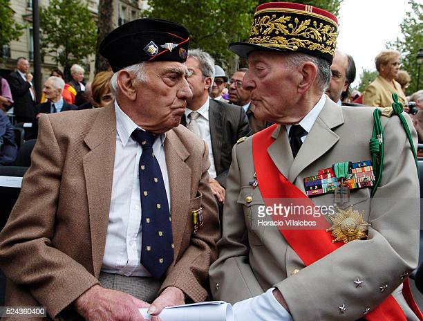 Spanish veteran Luis Royo and French General Alain de Boissieu son in law of Charles De Gaulle chat at the first homage to Republican Spanish...