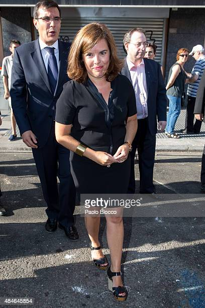Spanish vice president Soraya Saenz de Santamaria attends the funeral chapel for Lina Morgan at 'La Latina' theatre on August 20 2015 in Madrid Spain