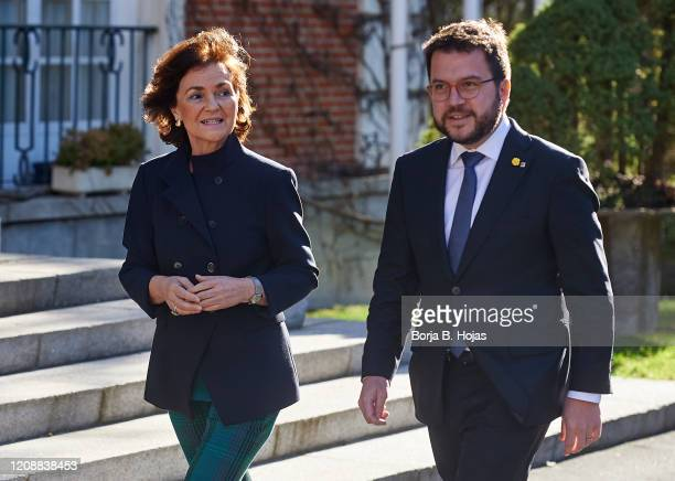 Spanish VicePresident and Relations with the Courts and Democratic Memory Carmen Calvo and Catalan Regional Counselor Pere Aragones arrives to...