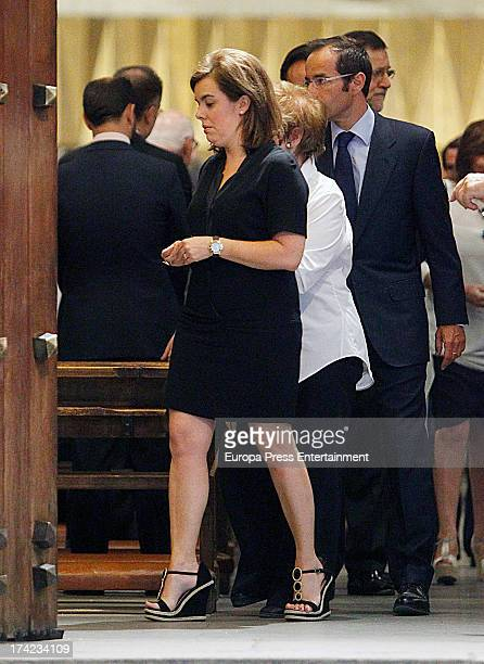 Spanish vicepresident of Goverment Soraya Saenz de Santamaria and her mother attends the funeral for Soraya's father at Santa Maria del Monte Carmelo...