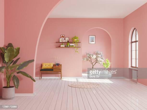 spanish villa in retro-style pink - pièce intérieur de maison photos et images de collection