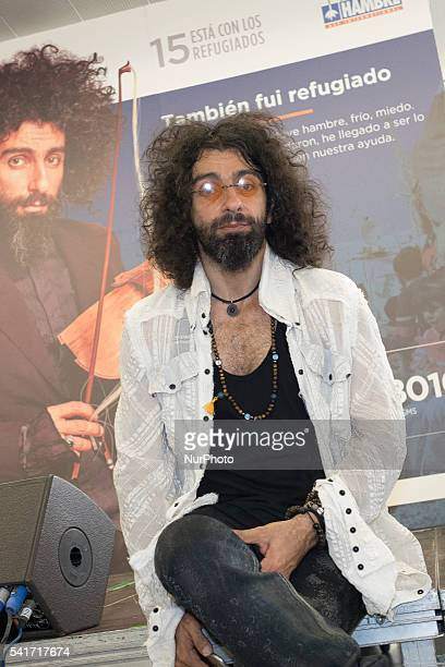 Spanish violinist Ara Malikian poses during the presentation in of the campaign '15 with the refugees' in Madrid Spain on 20 June 2016 The campaign...
