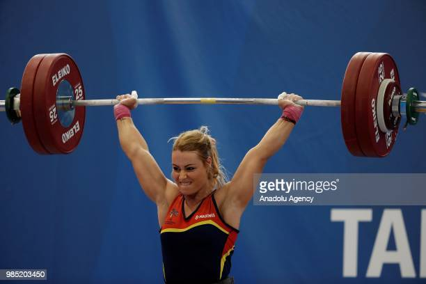 Spanish weightlifter Lidia Perez Valentin competes in the 75kg Women's weightlifting final within the XVIII Mediterranean Games Tarragona on June 27,...