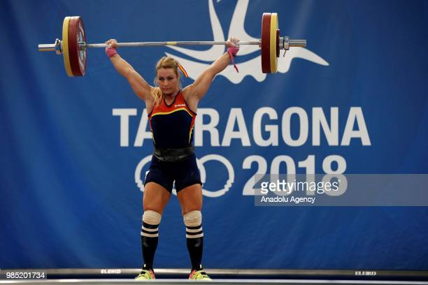 Spanish weightlifter Lidia Valentin Perez competes in the 75kg Women's weightlifting final within the XVIII Mediterranean Games Tarragona on June 27,...