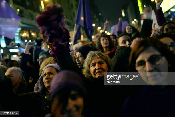 Spanish women demand equal working rights and an end to violence against women in Spanish society during a march to celebrate International Women's...