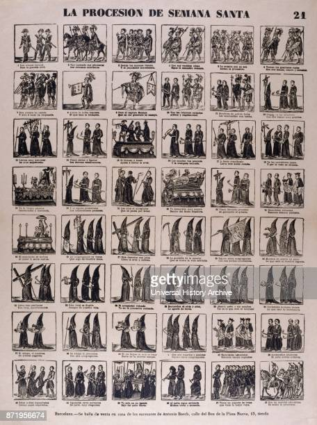Spanish woodblock illustration showing a Catholic religious procession with hooded priests 1850