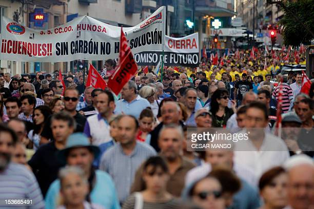 Spanish workers of Asturias protest against the Spanish government's austerity policies during a demonstration called by the Spanish unions in...