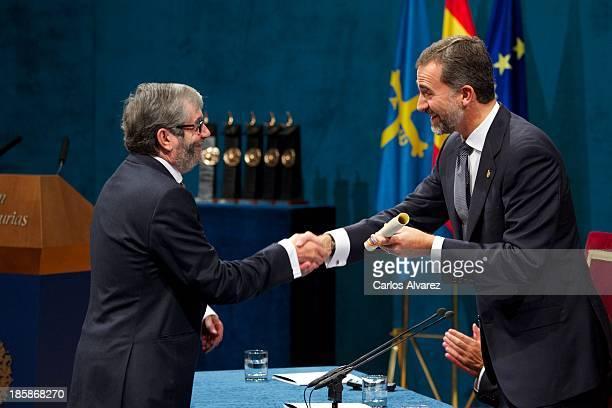 Spanish writer Antonio Munoz Molina receives from Prince Felipe of Spain the Prince of Asturias Award for Literature during the Prince of Asturias...