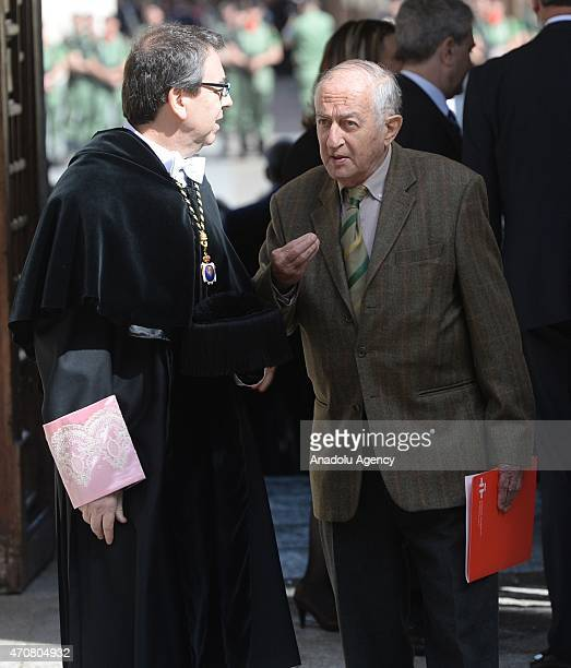 Spanish writer Juan Goytisolo arrives at the University of Alcala de Henares for the Cervantes Prize award ceremony in Madrid Spain on April 23 2015...
