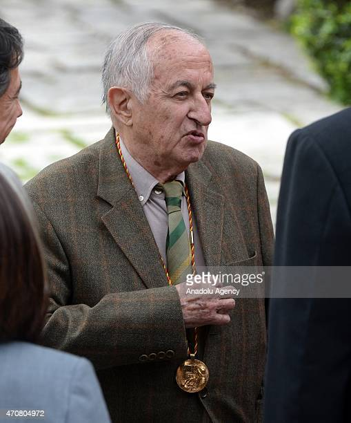 Spanish writer Juan Goytisolo arrives at the University of Alcala de Henares for the Cervantes Prize award ceremony in Madrid Spain on April 23 2015...