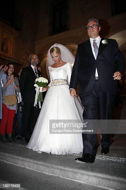 Spanish writer Juan Manuel de Prada and Maria Carcaba get married at San Gines church on October 22 2011 in Madrid Spain