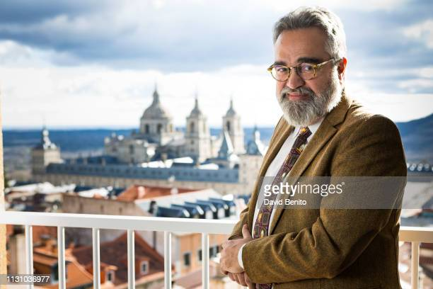 Spanish writter Javier Santamarta poses for a portrait session on January 28 2019 in El Escorial Spain