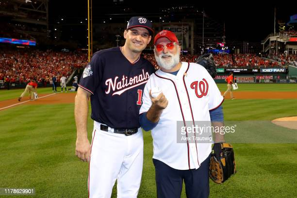 SpanishAmerican chef and philanthropist José Andrés poses for a photo with Ryan Zimmerman of the Washington Nationals after the ceremonial first...
