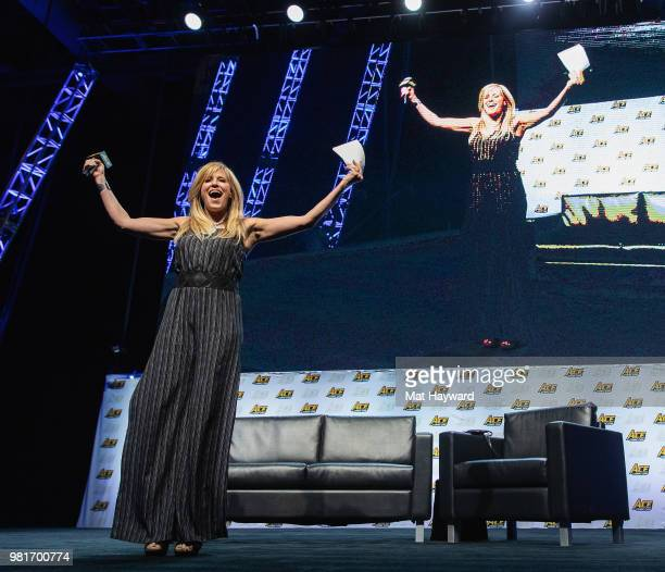 Spanish-American retired ring announcer Lilian Garcia speaks on stage during ACE Comic Con on June 22, 2018 at WaMu Theatre in Seattle, Washington.