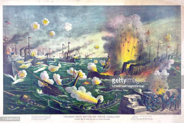 Spanish-American War 1898: Battle of Manila Bay, Philippines, 1 May 1898, the first major engagement of the conflict. Spanish vessels destroyed by...