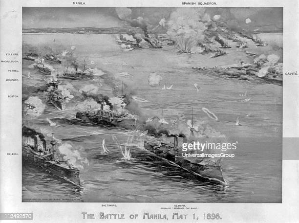 SpanishAmerican War 1898 Battle of Manila Bay Philippines 1 May 1898 the first major engagement of the conflict Commodore George Dewey's cruiser...